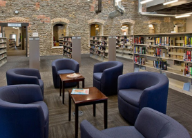 adult fiction area of library