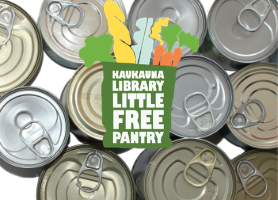 Little Free Pantry Logo over cans