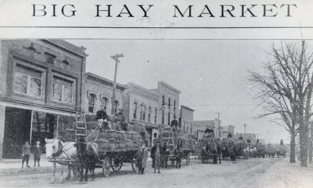 Farmers bringing hay to the Pig Fair